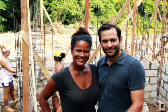 Tobias and Ayana at the construction stie